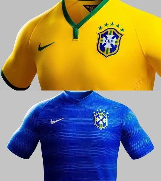 Brazil - The famous yellow home shirt. The stripped blue away shirt.    Credit: Nike
