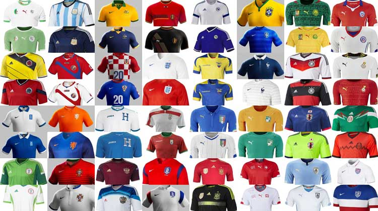 Word Cup Football 2014 – 32 Home And Away Kits